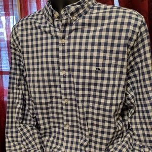 Vineyard vines blue and white button down.